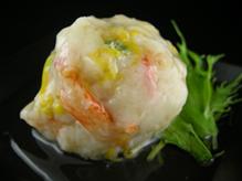 かに,菊の花,薄味,蒸し料理,一口サイズ